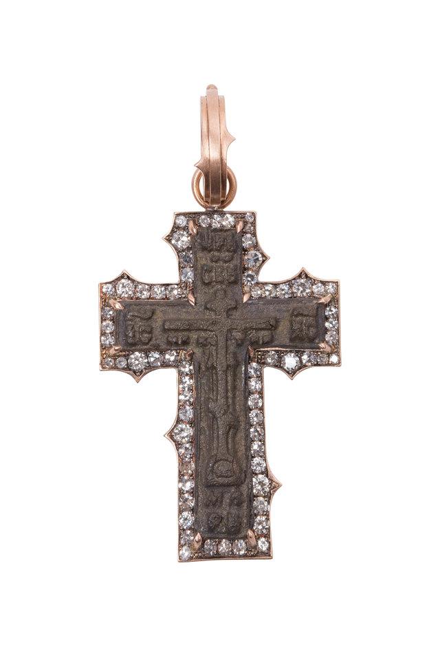 14K Rose Gold Icon Cross Pendant