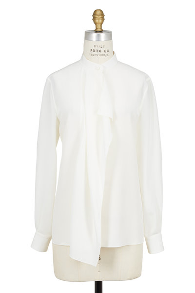 Agnona - Ivory Silk Jabot Long Sleeve Blouse