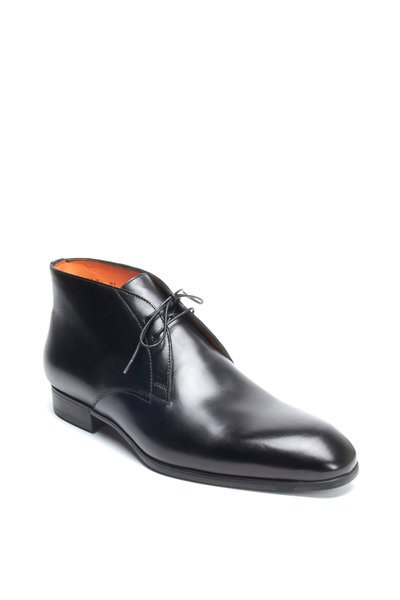 Santoni - Urban Black Leather Boots