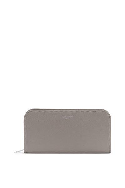 Saint Laurent - Paris Light Gray Grained Leather Zip-Around Wallet