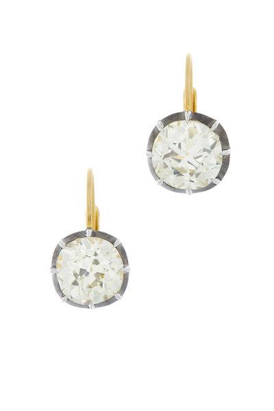 Sylva & Cie - Yellow Gold White Diamond Earrings