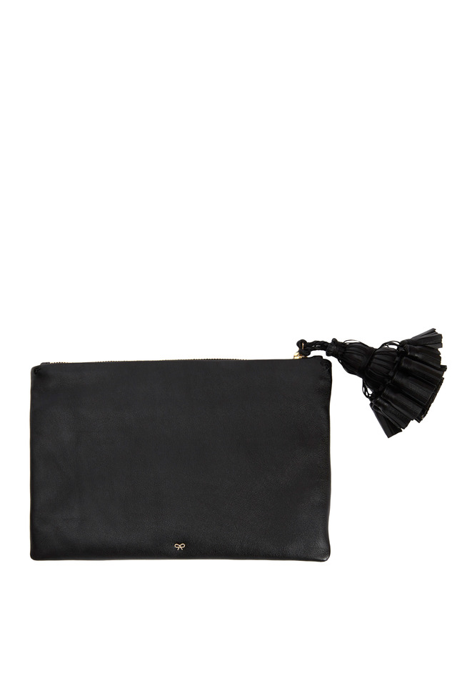 Georgiana Black Leather Tassel Clutch