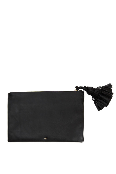 Anya Hindmarch - Georgiana Black Leather Tassel Clutch