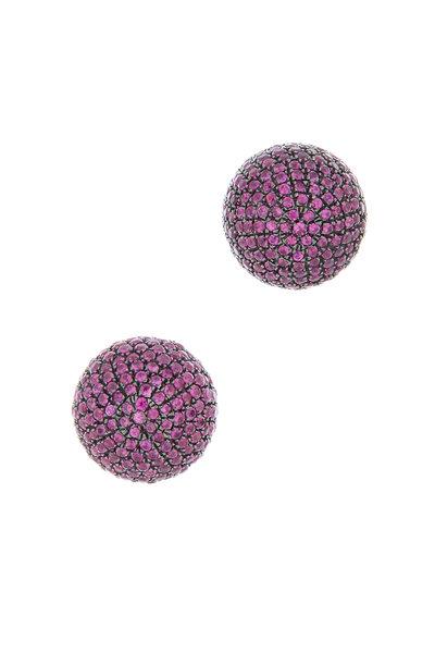 Loren Jewels - 18K Gold & Silver Ruby Studs