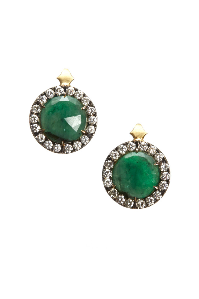 Gold & Silver Emerald Button Earrings
