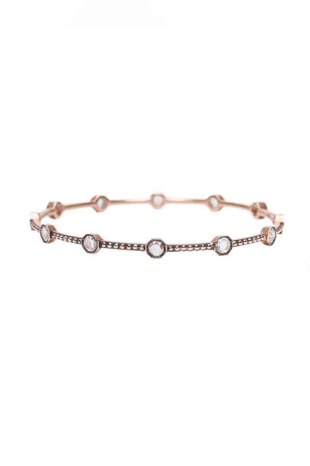 Rose Gold Caviar Diamond Bangle Bracelet