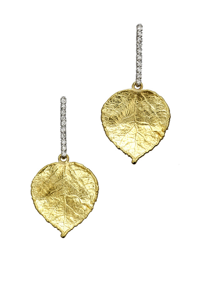 19K Yellow Gold Diamond Leaf Earrings