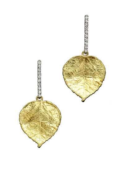 Aaron Henry - 19K Yellow Gold Diamond Leaf Earrings