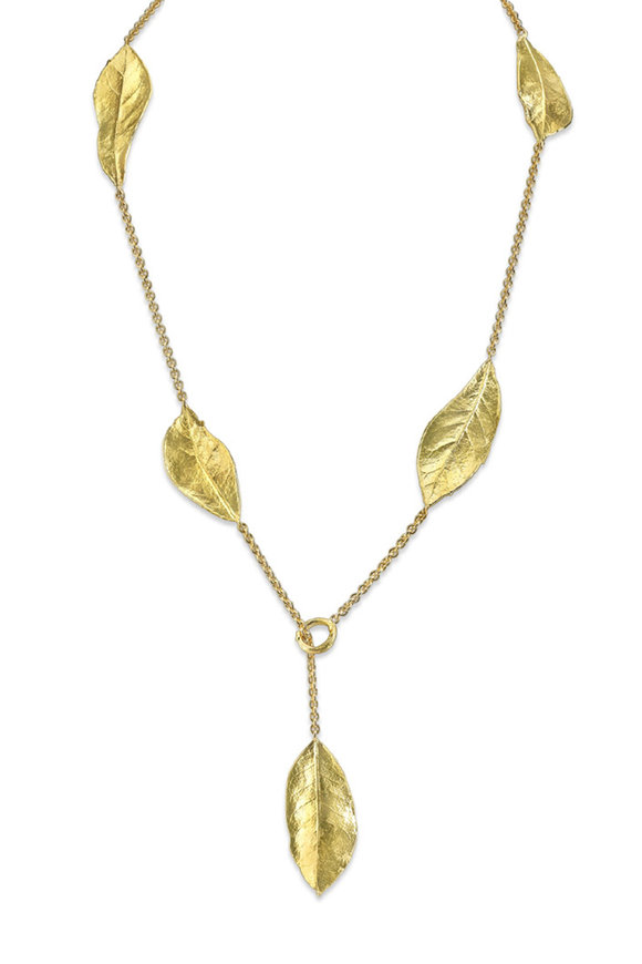 Aaron Henry 19K Yellow Gold Oak Leaf Lariat Necklace