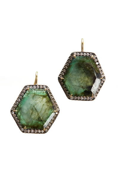 Sylva & Cie - Gold Beryl Doublet Diamond Dangle Earrings