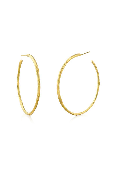 Aaron Henry - 19K Yellow Gold Branch & Diamond Leaf Hoops
