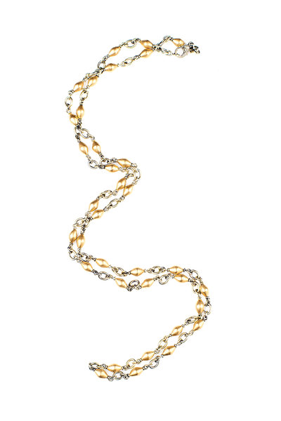 Sylva & Cie - Yellow Gold Wide Tube Bead Chain Necklace