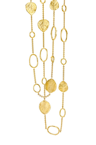 Aaron Henry - 19K Yellow Gold Olive Branch Leaf Necklace