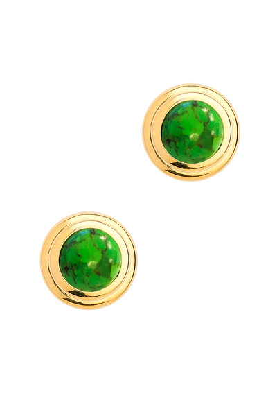 Syna - Yellow Gold Green Turquoise Earrings