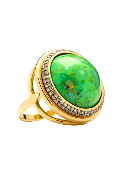 Syna - Yellow Gold Persian Green Turquoise Diamond Ring
