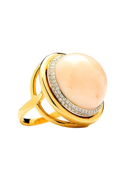 Syna - Mogul Yellow Gold Angel Skin Coral Diamond Ring