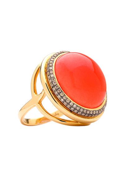 Syna - Mogul Yellow Gold Coral Champagne Diamond Ring