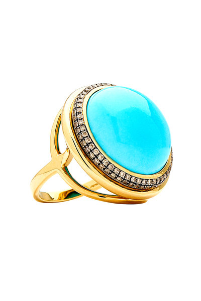 Syna - Mogul Yellow Gold Turquoise Champagne Diamond Ring