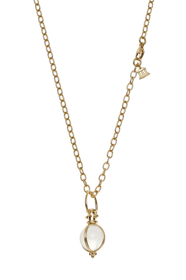 18K Yellow Gold Crystal Amulet