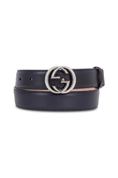 Gucci - Black Leather Interlocking G Buckle Belt
