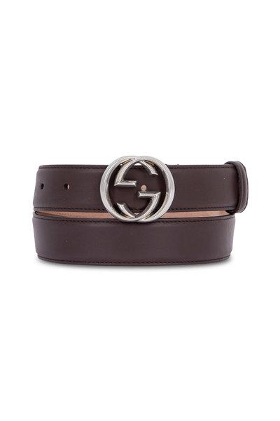 Gucci - Cocoa Leather Interlocking G Buckle Belt