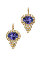 Temple St. Clair - 18K Gold Tanzanite Halo Pyramid Diamond Earrings