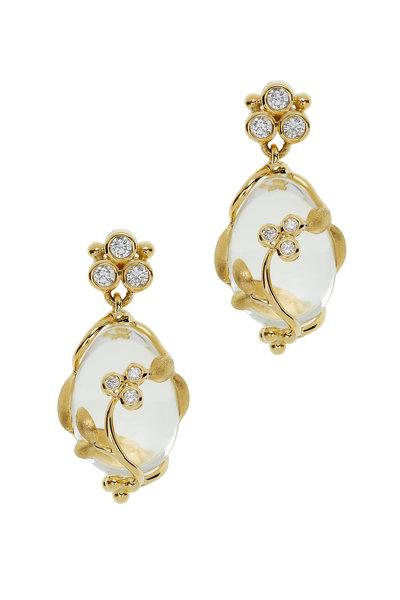 Temple St. Clair - 18K Yellow Gold Crystal & Diamond Vine Earrings