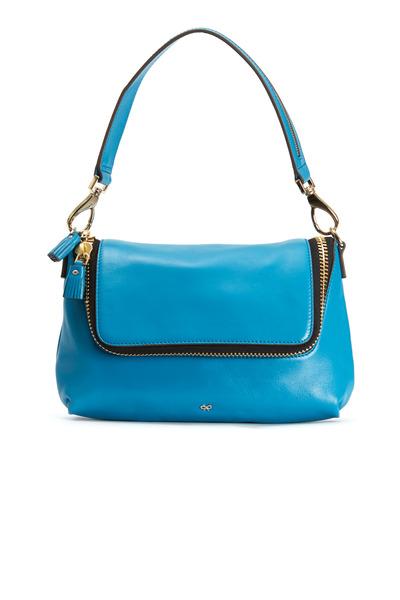 Anya Hindmarch - Maxi Zip Bali Blue Leather Crossbody Bag