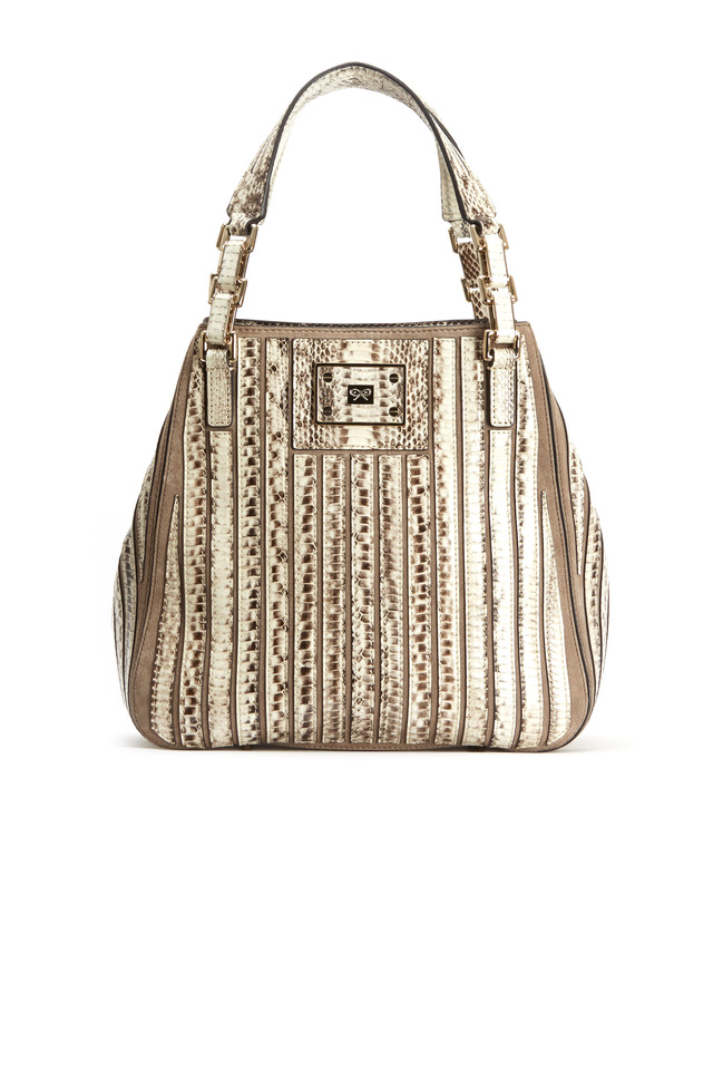 Belvedere Natural & Gray Snakeskin Shoulder Bag