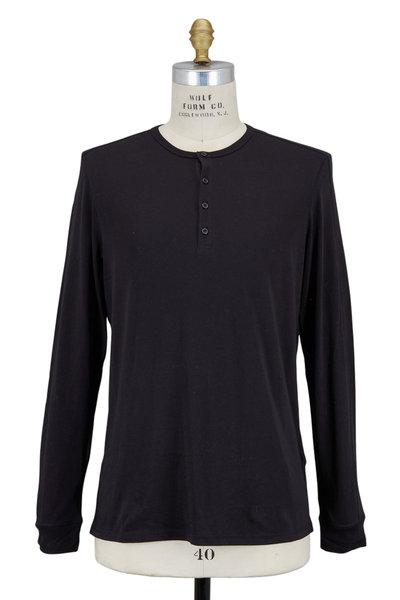 Vince - Favorite Black Cotton Jersey Long Sleeve Henley