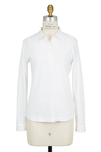 Bogner - Nalea Solid White Long Sleeve Polo