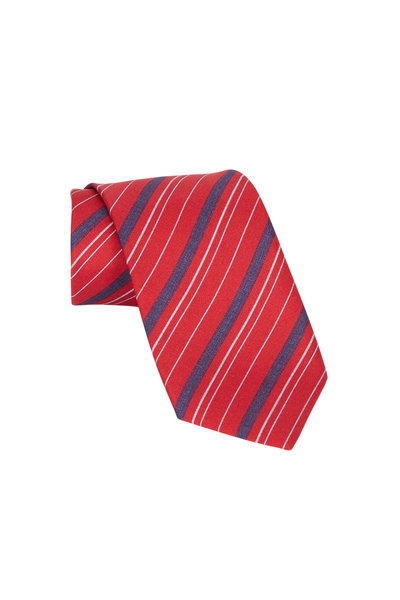 Brioni - Red Striped Silk Necktie