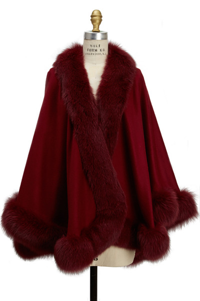 Viktoria Stass - Burgundy Cashmere Fox Trim Cape