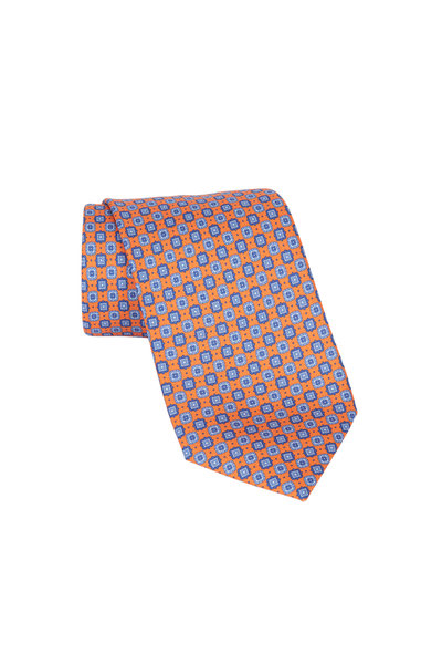 Brioni - Orange Geometric Silk Necktie