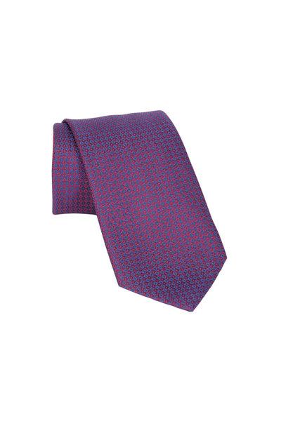 Brioni - Red & Blue Geometric Silk Necktie