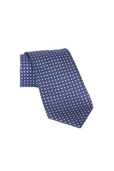Brioni - Navy Blue Geometric Silk Necktie