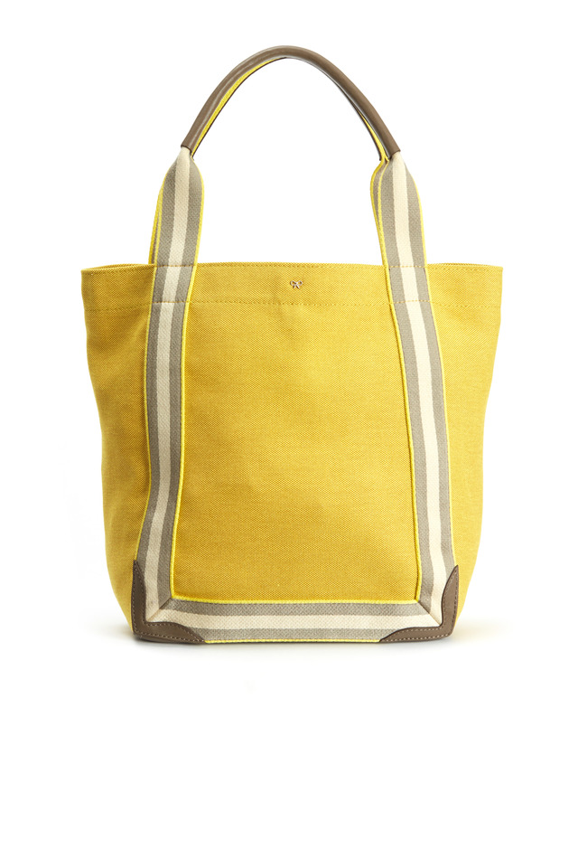 Yellow Canvas Stripe Small Tote