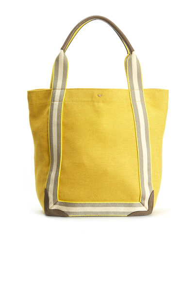 Anya Hindmarch - Yellow Canvas Stripe Small Tote