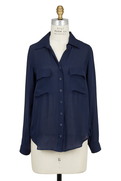 L'Agence - Navy Blue Silk Long Sleeve Two Pocket Blouse
