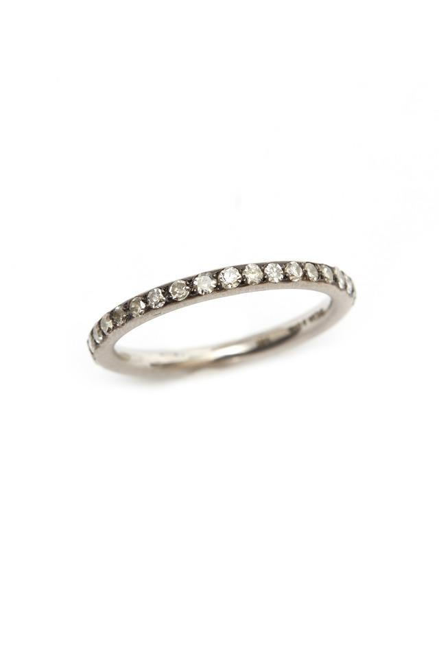 White Gold Rough Diamond Stack Ring