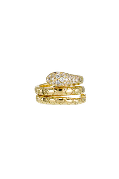 Temple St. Clair - 18K Yellow Gold Diamond Double Serpent Ring