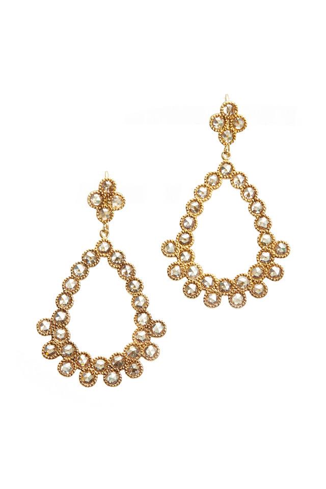 Carmen Gold Rose-Cut Diamond Chandelier Earrings