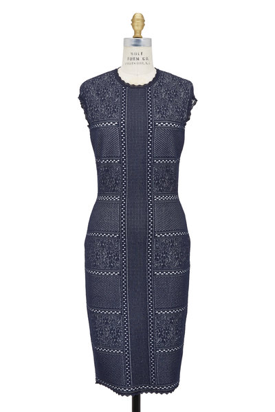Alexander McQueen - Navy Blue & White Lace Cap Sleeve Midi Dress
