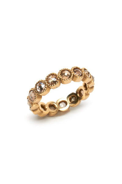 Sylva & Cie - 14K Yellow Gold Champagne Diamond Band