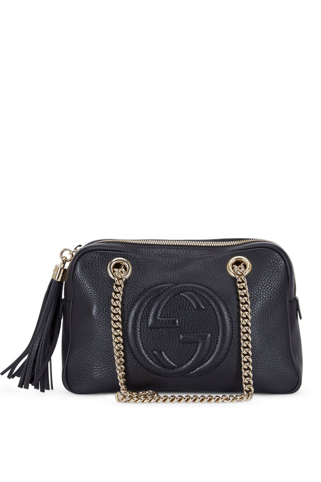 Soho Black Leather Small Chain Strap Shoulder Bag