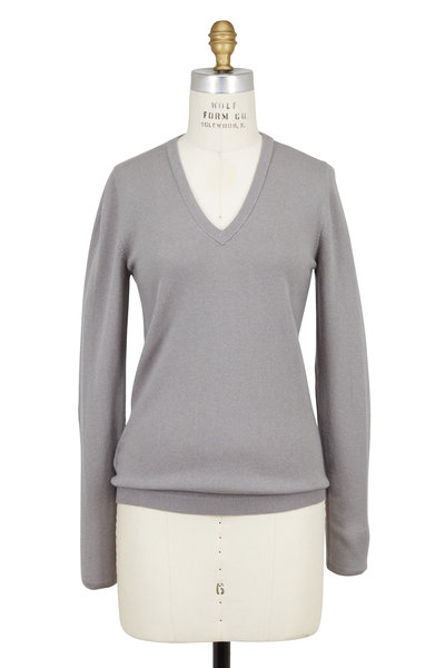 Brunello Cucinelli - Clay Cashmere Elbow Patch V-Neck Sweater