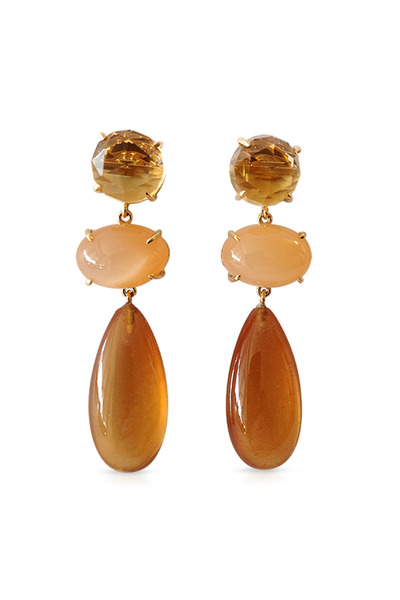 Emily & Ashley - Three-Drop Orange Moonstone Earrings