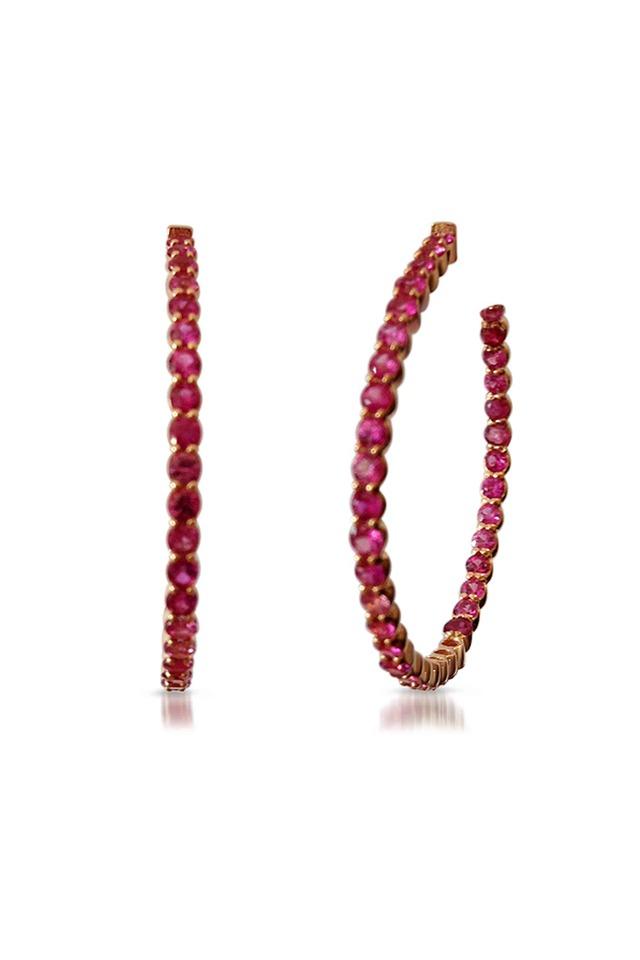 Gold Pink Sapphire Hoop Earrings