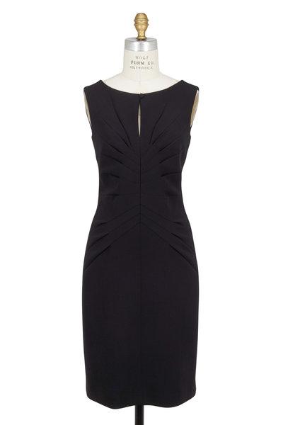 Kiton - Black Wool Pleated Detail Front Sleeveless Dress