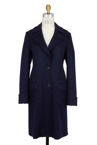 Kiton - Navy Blue Cashmere Back Pleat Coat